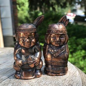 Vintage copper indigenous salt and pepper shakers